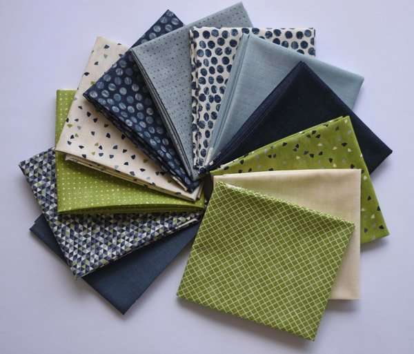 "Moda ""Janet Clare"" Geometry  Fat Quarter Bundle"