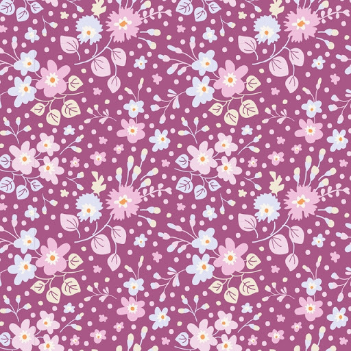 "Tilda ""Quilt Collection, Plum Garden, Flower Confetti Plum"" Artikelnummer 1749"